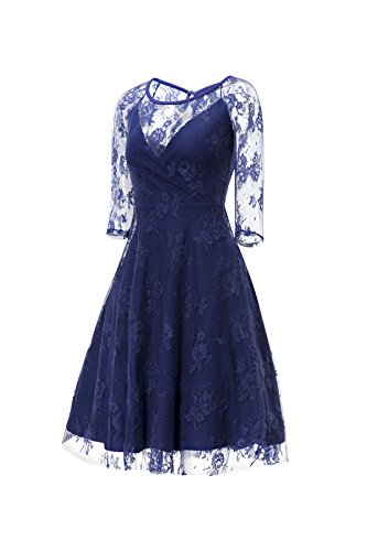 Gigileer Sexy Vintage Damen Floral Spitze 3/4 Arm Swing Kleid Knielang festlich Party Blau S - 3