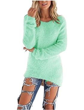 Coversolate Las Mujeres de Manga Larga de Punto Jersey Suéter Suelto Jumper Tops de Punto (L, Verde)