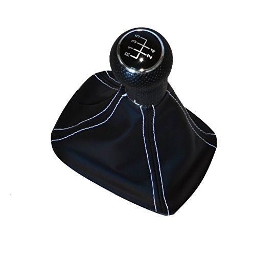 Preisvergleich Produktbild Schaltknauf + Schaltsack Schaltmanschette NAHT WEISS passend für VW Seat Skoda (13 TP8)