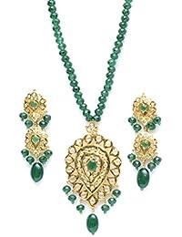 Zevarcraft Alloy Green And Gold Color Necklace Set For Women Ze-009
