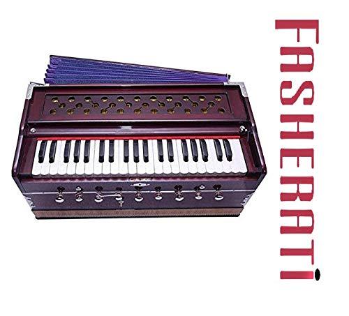 Fasherati Harmonium 9 Stopper, 3,5 Oktaven, Kopplerfunktion, 42 Tasten, 2 Reed, Mahagoni-Farbe mit Beutel