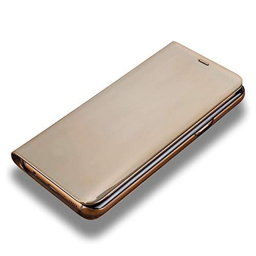 LAGUI Cover Adatto per Huawei Mate 20 Lite, Flip View Custodia Smart Protettiva con Funzione di Supporto, Oro