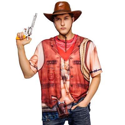 (Cowboy T Shirt Cowboy Tee Shirt Western T Shirt Adult Fancy Dress Costume)