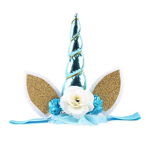 Einhorn Kostüm Kinder Blau - Hacoly Einhorn Haarreifen mit Ohren Weihnachten
