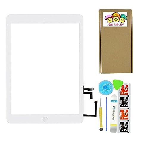 XIAO MO GU Touchscreen Digitizer Ersatz Vorderer Glas Display für iPad Air 1st Generation (iPad 5) A1474, A1475 mit Flexkabel und Werkzeug weiß Ersatz