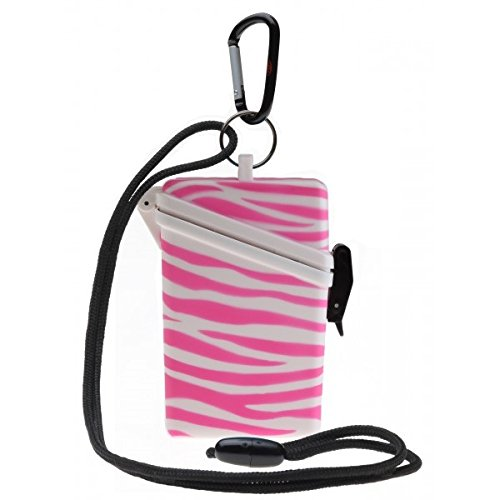 WITZ STRANDSAFE LARGE - großer wasserdichter Badesafe Strandbox Schwimmsafe + Karabinerhaken zebra pink