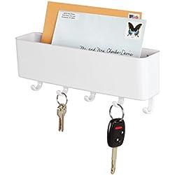 mDesign Portalettere e appendichiavi – Bacheca chiavi con 5 ganci ed 1 ripiano portariviste - Il modo più pratico per organizzare chiavi, posta e giornali – bianco