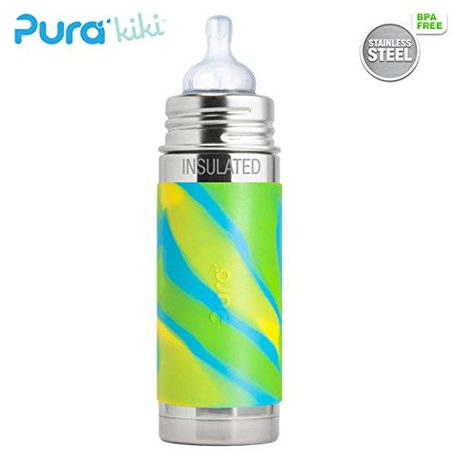Pura Kiki ISO-Flasche - 250ml - Weithalssauger (inkl. Schutzkappe) Pura ISO 250ml Weithalssauger/Blue Swirls