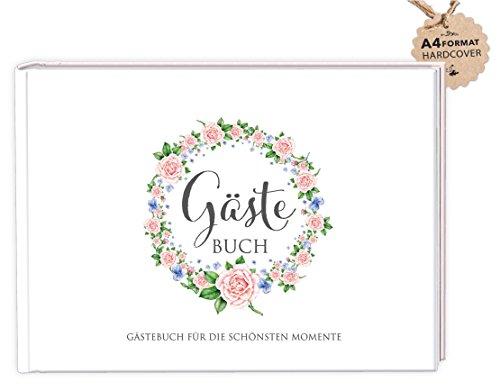 DIN A4 GÄSTEBUCH (Hardcover) Hochzeit Taufe Kommunion Konfirmation • ROSA Kranz Rosen • Für die lieben Hochzeitsgäste/Gäste zum Selbstbeschreiben, malen und bekleben von eigenen Fotos/Selfie`s