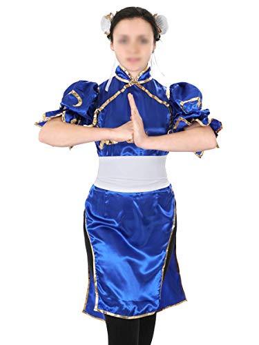Erwachsene Samurai Blau Für Kostüm - Street Fighter Frauen Kostüm von Chun Li, Größe: S