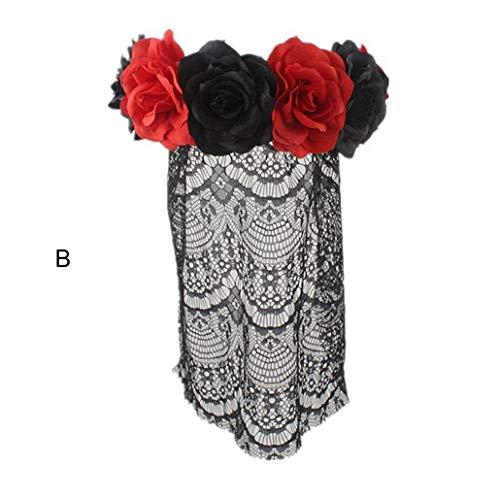 Upxiang Halloween Stirnband Haarband für Frauen Rose Blume -