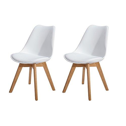 H.J WeDoo 2er Set Esszimmerstühle mit Massivholz Eiche Bein, Küchen stühle mit Gepolsterter für ESS und Wohnzimmer - Weiß (2 Stuhl Eiche Stück)