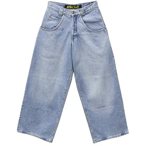 Old Glory - Mens Faded Wide Cut Denim Jeans 28 Light Blue