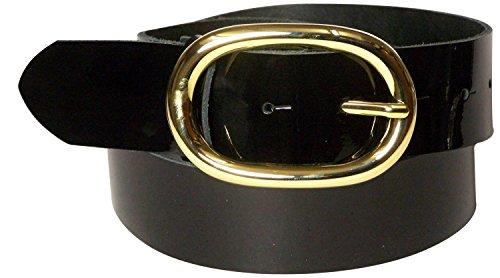 Fronhofer Gürtel Damen Lack 4 cm ovale goldene Gürtelschnalle, Lackgürtel, Wechselgürtel, 17856, Größe:Bundweite 110 cm, Farbe:Schwarz Lack