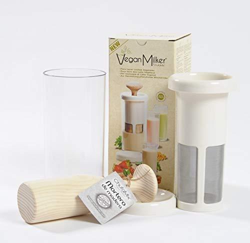 VEGAN MILKER PREMIUM, Gerät zur Herstellung von Pflanzenmilch aus beliebigen Samenkörnern. Familiengröße: Erstellt 1 Liter in 1 Minute. Holzmörser. Hergestellt in Europa. Kostenloses Rezeptbuch