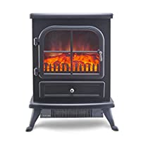 "Galleon Fires Original ""Sirius"" Electric Stove, Freestanding Heater, Electric Fire Place / Fireplace - Chrome Handle - Realistic Log Flame Effect"