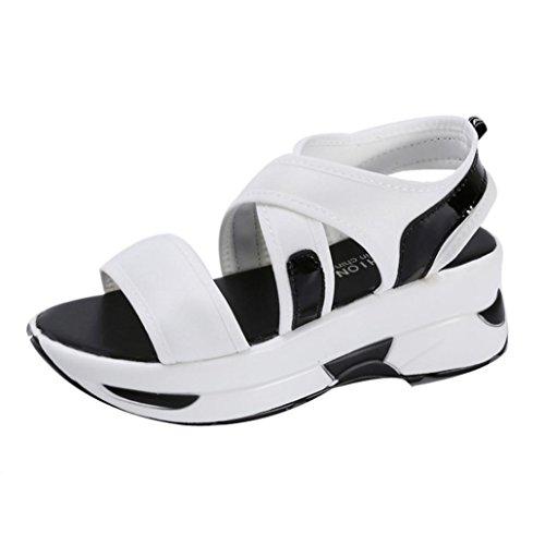 Kaiki Frauen Sandalen Casual Breathable Sport Schuhe Wedges Sandalen Plattform Sandalen White