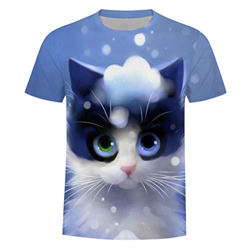 VANMO Freizeitkleidung für Herren, 2019 Neu 3D Süß Cat T-Shirt Sommer Herrenmode Rundhals Personalit Print Kurzarm Freizeit Top Bluse Cool Baumwolle Freizeitkleidung Schneeballschlacht Cat
