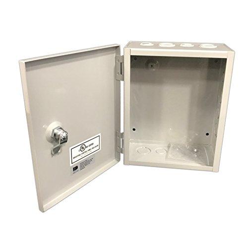 Bud Industries jbh-4958-ko Stahl NEMA 1Bogen Metall Box mit Knockout und Klappdeckel, 20,3cm Breite x 25,4cm Höhe x 10,2cm Tiefe, grau finish (Boxen Bögen Und)