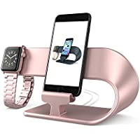 Apple Watch and iPhone Chaging Dock,PUGO TOP Apple Watch Stand iPhone Charger Station-Rose Gold