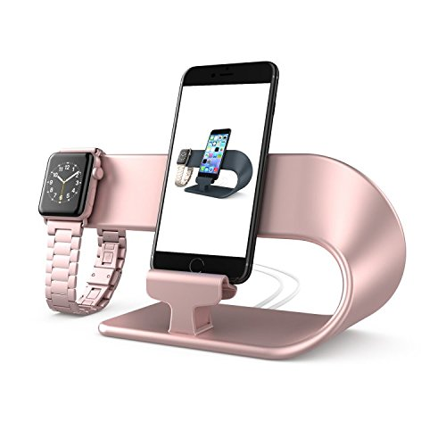 PUGO TOP Stand Ladestander Replacement für Apple Watch Series 4 Series 3 Series 2 Series 1,iWatch Stand,iPhone,iPad Dock Station(Rose Gold)