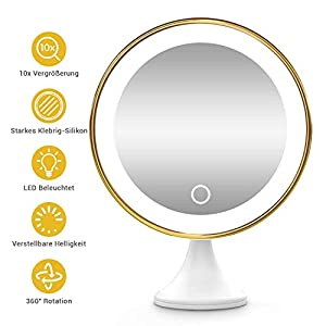 BEQOOL Kosmetikspiegel 10x Vergrößerungsspiegel Schminkspiegel mit Verstellbarer LED-Licht Starkem klebrig-Silikon 360°schwenkbar Make-up Spiegel Rasierspiegel für Badzimmer Kosmetikstudio und Hotel