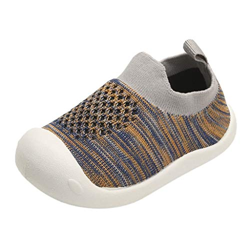 QinMM Scarpe Bimba Bambina calzino a Righe Colore Sport Tessuto Elastico Sneakers Sportive 963B Anti Scivolo Morbido