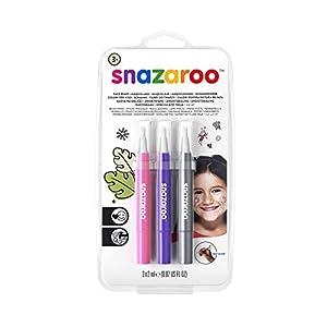 Snazaroo - Set de 3 rotuladores de maquillaje fantasía, color rosa, violeta, plata