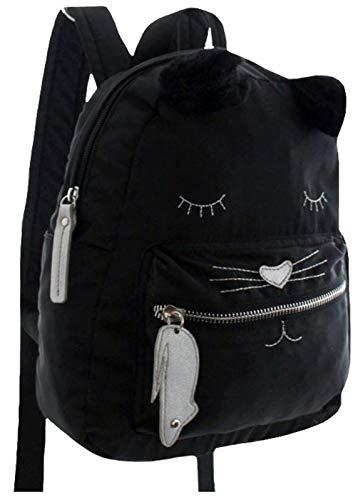 City Rucksack Kitten Schwarz/Silber niedlicher Mädchen-/ Damenrucksack mit Katzenmotiv Daypack mit Katzengesicht und Fellimitat-Ohren
