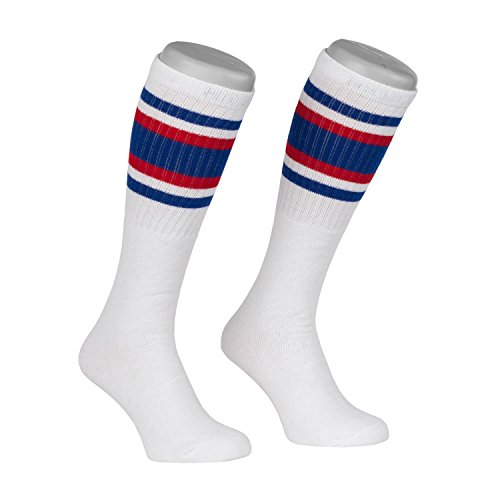 Skatersocks Skater Socken 22 Inch Tubesocks gestreifte retro Kniestrümpfe weiss blau rot (Gestreifte Rote Und Weiße Socken)