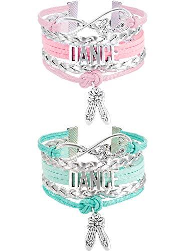 Chuangdi 2 Stücke Tanz Armband Mädchen Tanzschmuck Pointe Schuh Ballett Armband Geschenk für Tanz Recitals, Tänzer und Tanzgruppen (Rosa und Grün)