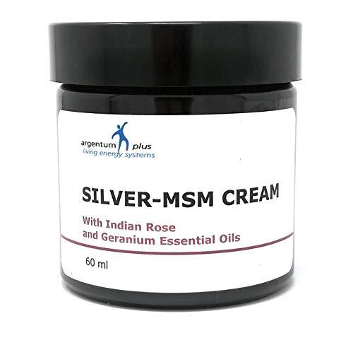Silber-MSM Crème mit essentiellem Geranium- und Indischem Rosenöl - 60 ml - Anti-falten Nährende Creme