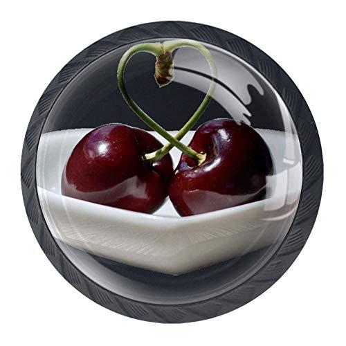 2 Stück Kirsche Schrank (Kirschen Kristallglas Möbelgriff mit Edelstahlschrauben 4 STÜCKE Möbelknöpfe Bunte Knöpfe Möbelschrank Schubladenknöpfe , Stilvoller Schubladengriff für Schlafzimmer Wohnzimmer Kinderzimmer)