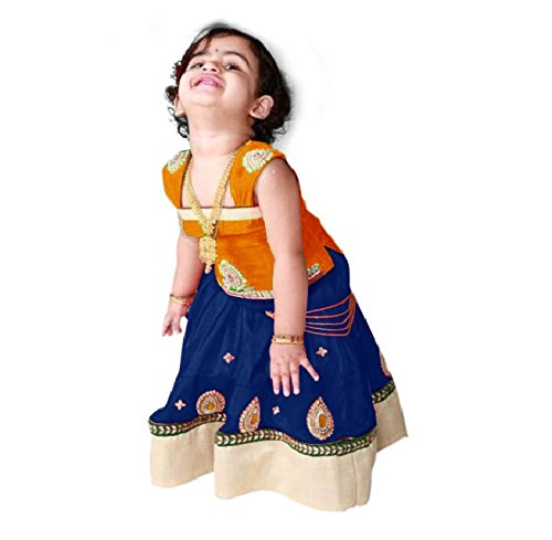 White Button Baby Girl's Orange n Navy Blue Pure Glace Cotton ReadyMade...