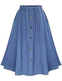 c0973cb8330e BESTHOO Jupe En Jean Femme Jupe Grande Taille Jupe Parapluie En Denim Jupe  Taille Elastique Jupe Avec…