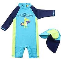 Bañador para Niños Trajes de Baño - Traje de Buceo una pieza Manga Larga para Deportes Acuáticos Protección UV Ropa de Natación y Gorra de Natación