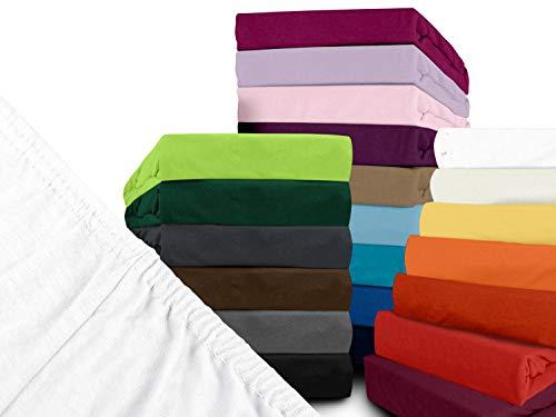 npluseins klassisches Jersey Spannbetttuch - erhältlich in 34 modernen Farben und 6 verschiedenen Größen - 100% Baumwolle, 70 x 140 cm, Schnee - 2