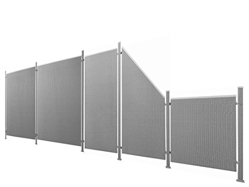 Poly-Rattan Sichtschutz / Zaun-Set 11-teilig anthrazit ca. 588cm Prime Tech