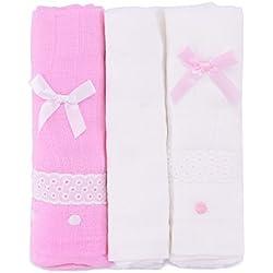 PEKITAS Muselinas Pack de 3   Mantas de Muselina 100% Algodón   Paños de Muselina para Bebés Calidad 75 x 75 cm Rosa y Blanco