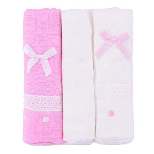 PEKITAS Muselinas Pack de 3 | Mantas de Muselina 100% Algodón | Paños de Muselina para Bebés Calidad 75 x 75 cm Rosa y Blanco