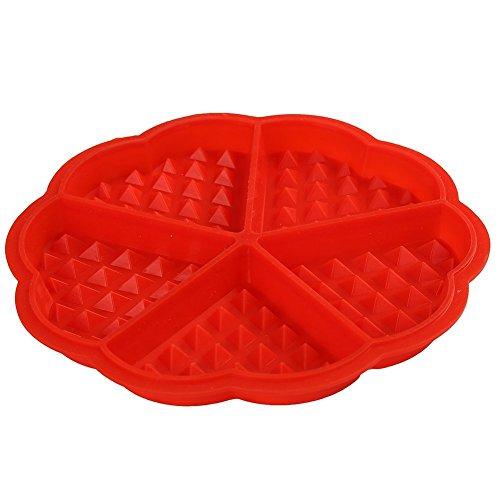 Sungpunet Bakeware Silicone Waffle Baking Molds Mini Heart Waffle Cake Muffin Mould Red
