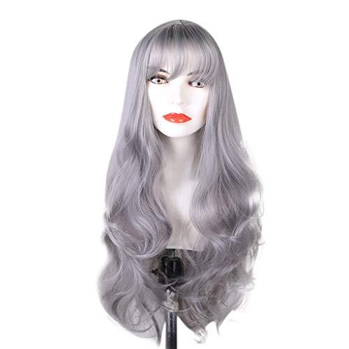 Luckhome Damen Lang Ombre Haar Perücken Mode Gelockt Gewellt Perücke Kunsthaar Cosplay Wig DIY Natürliche Welle Für Frauen Mittleren Teil ()