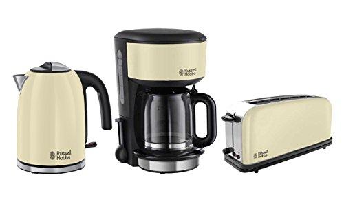 Frühstücksset Russell Hobbs 3-tlg. Kaffeemaschine + Wasserkocher + Toaster Colours Creme Serie