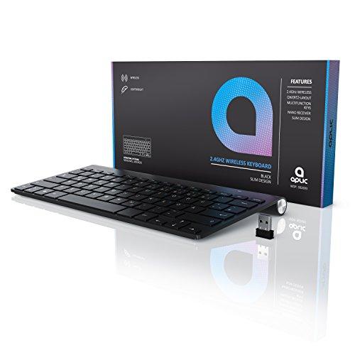 CSL - wireless Slim Tastatur / kabelloses Funk Keyboard | Wireless / 2,4G Lightweight Design | Multimedia Keys | QWERTZ-Layout (Deutsch) | schwarz - 6