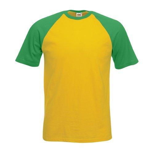 Shortsleeve Baseball T-Shirt von Fruit of the Loom S M L XL XXL verschiedene Farben XL,Sonnenblumengelbmaigruen