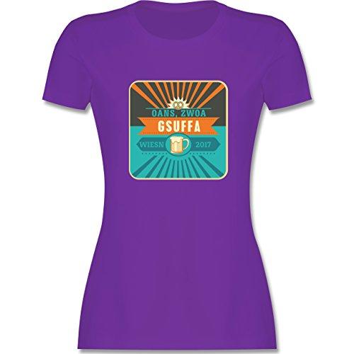 Oktoberfest Damen - Oans, Zwoa, Gsuffa 2017 - tailliertes Premium T-Shirt  mit