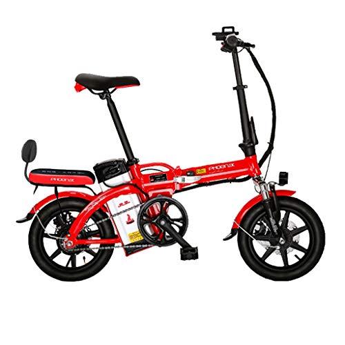 Luyuan - Bicicletta elettrica Pieghevole da 35,6 cm, Batteria al Litio da 48 V, per Uomini e Donne, per Adulti, Durata 85-100 km, Bianco, 123 * 30 * 93CM