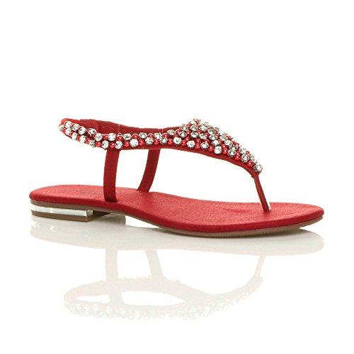 Damen Slingback Wulst Diamant Geschmückt Zehntrenner T-Riemen Sandalen Größe Rot