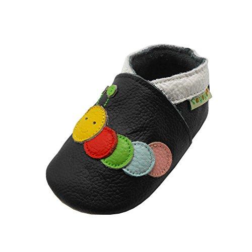 Sayoyo Gänseblümchen WeichesLeder Lauflernschuhe Krabbelschuhe Babyschuhe (6-12 Monate, Schwarz Caterpillar)