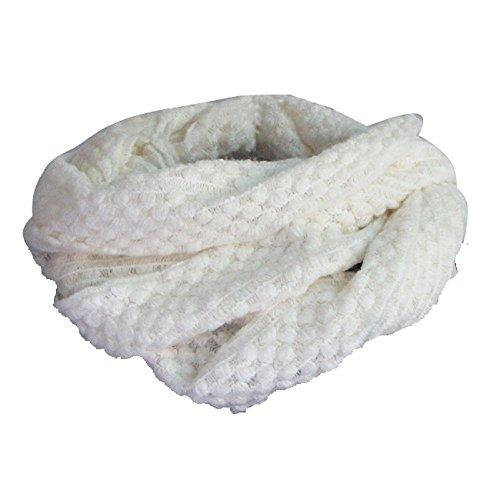 Imixcity®Hommes et Femmes Enfants Automne/Hiver Main écharpe Tricotée Tube écharpe mode Grille 9 Couleurs en Option(20cm*30cm) A:Blanc